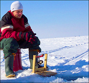 Ice fishing with heated clothing